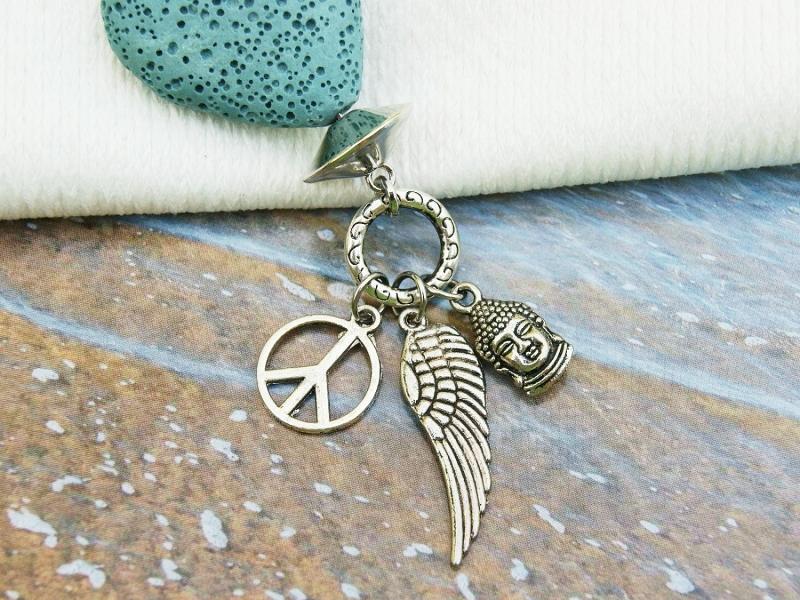 Kleinesbild - Anhänger Buddha Flügel Peace Lava Herz türkis Kettenanhänger Schlüsselanhänger Taschenanhänger