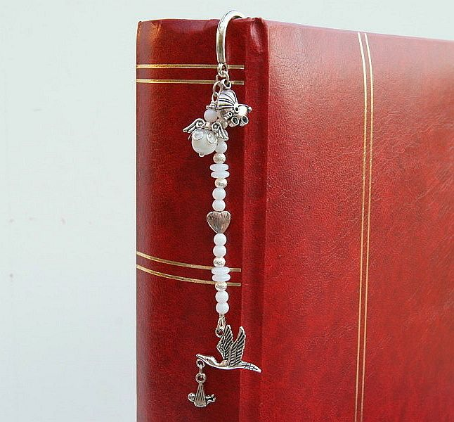 Kleinesbild - Lesezeichen groß Metall Klapperstorch Kinderwagen Engel Geschenk zur Hochzeit Geburt Taufe