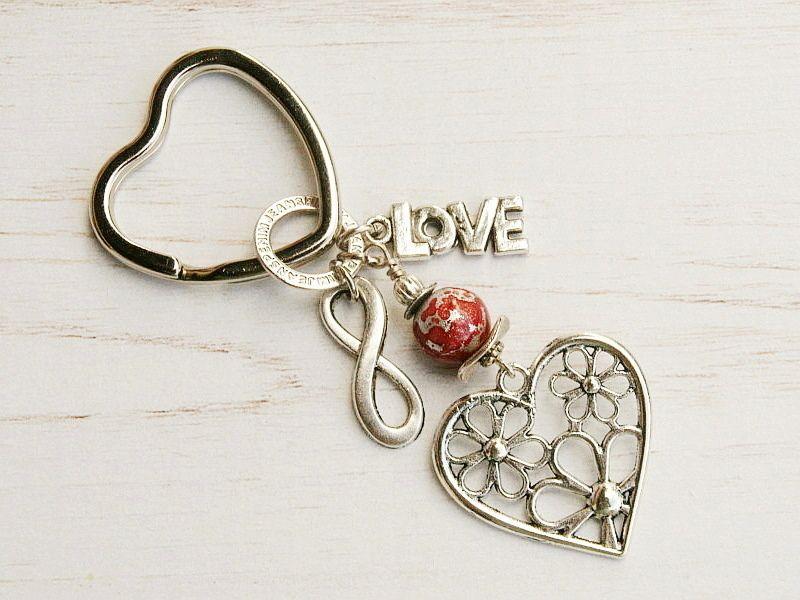 Kleinesbild - Schlüsselanhänger Herz Love Infinity Taschenanhänger