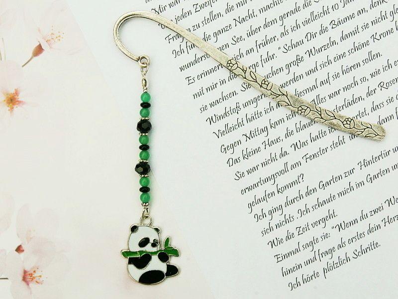 Kleinesbild - Lesezeichen groß Metall Panda Pandabär schwarz grün