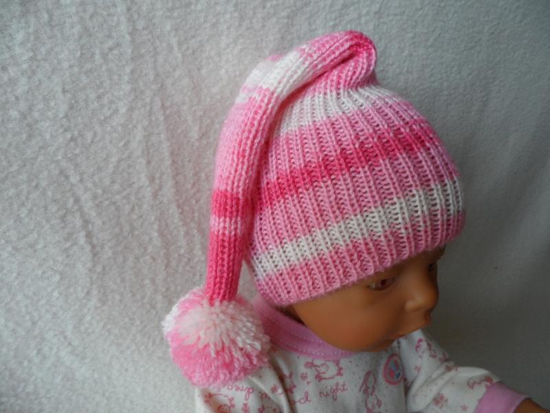 Kleinesbild - Zipfelmütze gestrickt, Puppenmütze, KU 30 - 33 cm, rosa-weiß