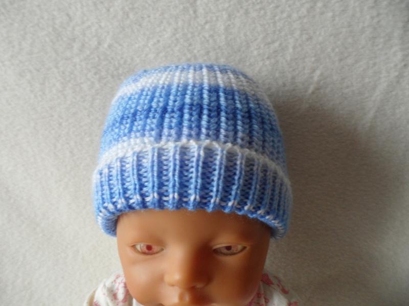 - Puppenmütze, Strickmütze, Mütze, KU 32 - 34 cm, Farbverlauf blau - weiß - Puppenmütze, Strickmütze, Mütze, KU 32 - 34 cm, Farbverlauf blau - weiß