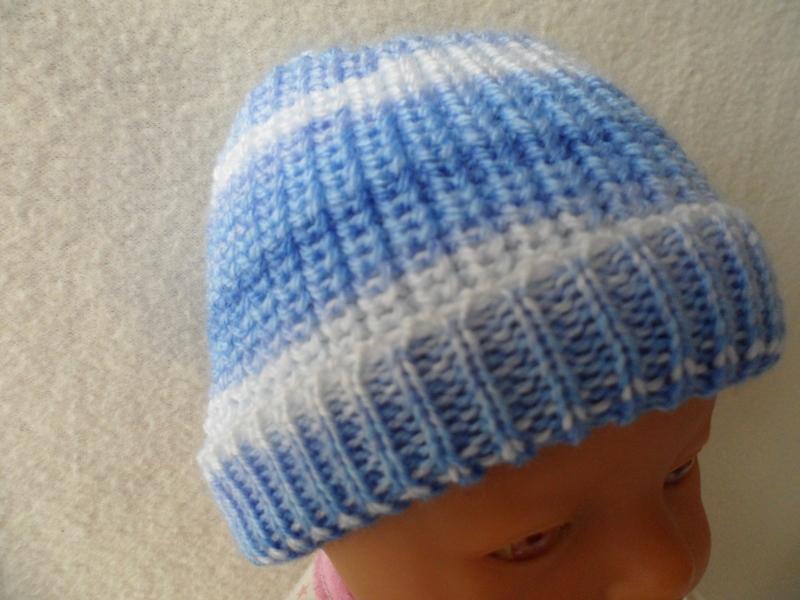 Kleinesbild - Puppenmütze, Strickmütze, Mütze, KU 32 - 34 cm, Farbverlauf blau - weiß