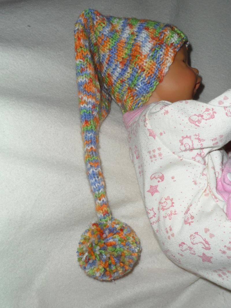 Kleinesbild - Zipfelmütze gestrickt, Puppenmütze, KU 30 - 33 cm, bunt