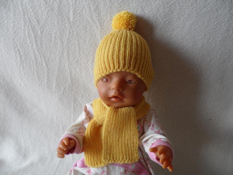 - Puppenmütze, Bommelmütze, gestrickt, KU 31 - 33 cm, gelb - Puppenmütze, Bommelmütze, gestrickt, KU 31 - 33 cm, gelb