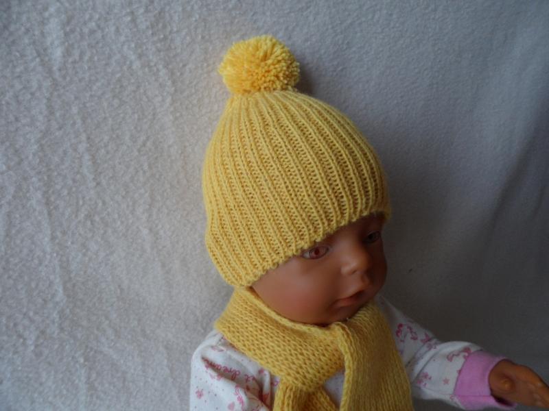 Kleinesbild - Puppenmütze, Bommelmütze, gestrickt, KU 31 - 33 cm, gelb