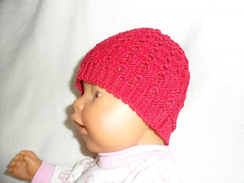 Kleinesbild - Puppenmütze, Strickmütze, Mütze, KU 33 - 35 cm, rot, 100% Baumwolle