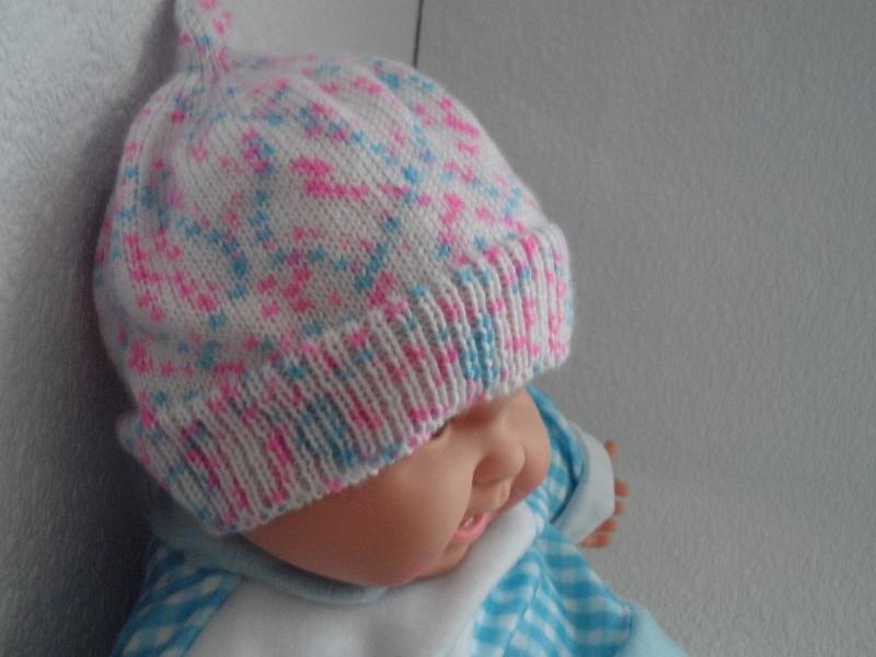 Kleinesbild - Babymütze, Strickmütze, Mütze, KU 44 - 46 cm, Farbverlauf weiß/blau/rosa