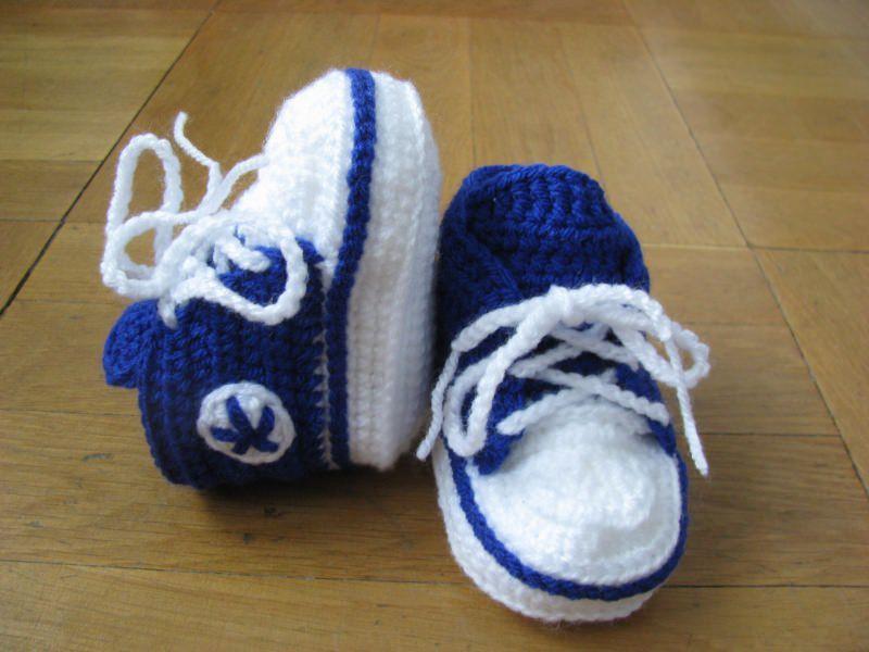 - Babyschuhe, gehäkelt, royalblau, 9 cm (0-3 Monate) - Babyschuhe, gehäkelt, royalblau, 9 cm (0-3 Monate)