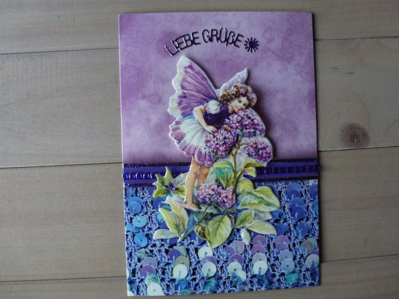 - ♥3D-Karte-Liebe Grüße♡ Elfe♡ Nr.93♥ - ♥3D-Karte-Liebe Grüße♡ Elfe♡ Nr.93♥