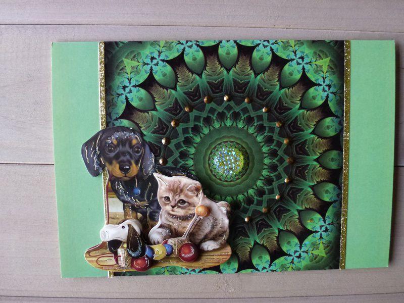 - ♥3D-Karte ♡ Hund♡ Katze♡Nr.90♥   - ♥3D-Karte ♡ Hund♡ Katze♡Nr.90♥