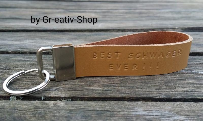 - Schlüsselanhänger mit Wunschtext - handgestempelt - Rindsleder - personalisiert - Schlüsselanhänger mit Wunschtext - handgestempelt - Rindsleder - personalisiert