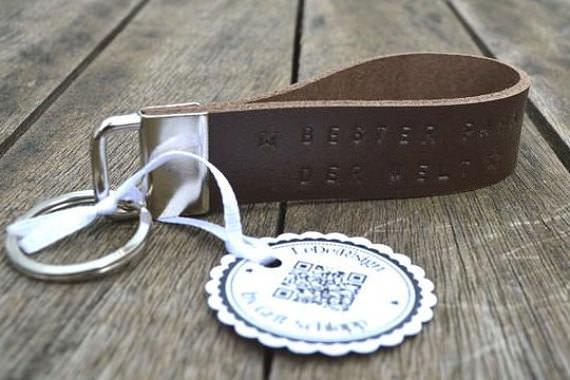 - Schlüsselband mit Wunschtext - handgestempelt - Rindsleder - personalisiert  - Schlüsselband mit Wunschtext - handgestempelt - Rindsleder - personalisiert