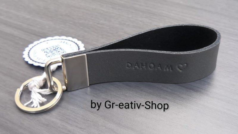Kleinesbild - Schlüsselband mit Wunschtext - handgestempelt - Rindsleder - personalisiert