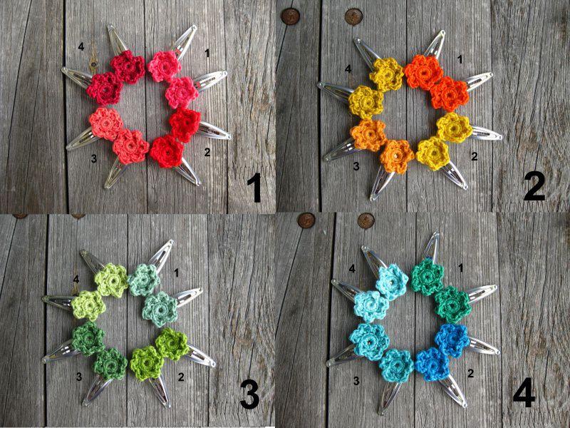 Kleinesbild - **Angebot** 6 Haarspangen bunte Blume gehäkelt