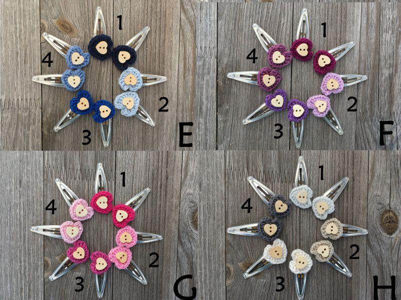 Kleinesbild - **Angebot** 5 Haarspangen Blumen, zweifarbig gehäkelt