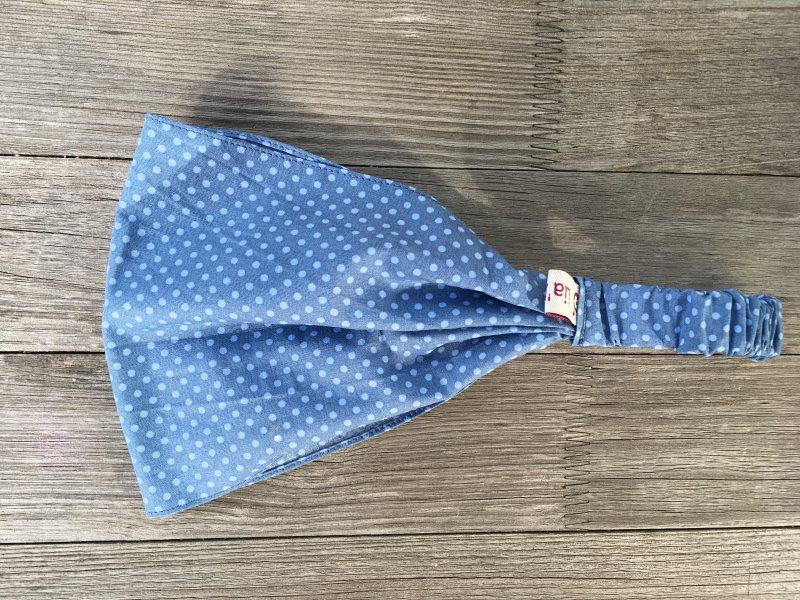- Haarband Pünktchen hellblau auf blau - Haarband Pünktchen hellblau auf blau