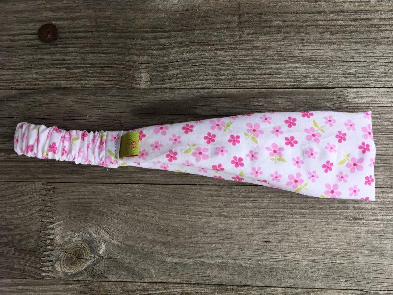 - Haarband Kinder rosa Blümchen auf weiss schmal - Haarband Kinder rosa Blümchen auf weiss schmal