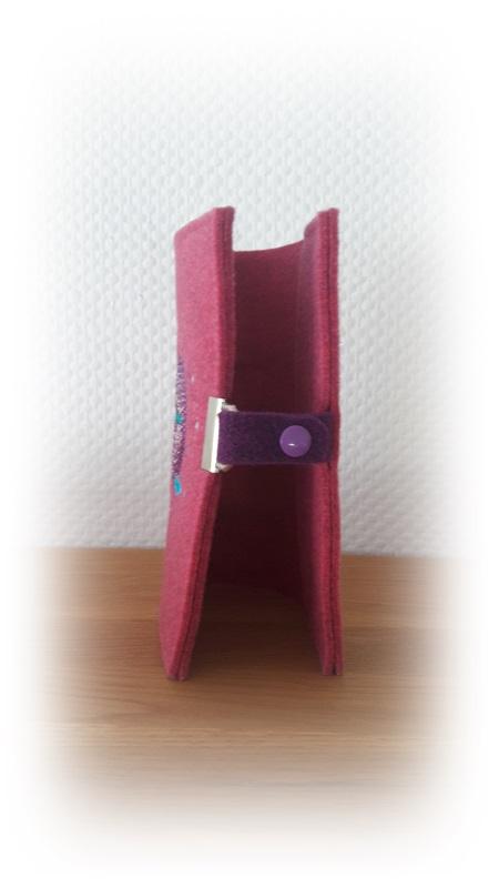Kleinesbild - Gotteslobhülle aus Wollfilz Kreuz / Fisch Verschlussvariante 2