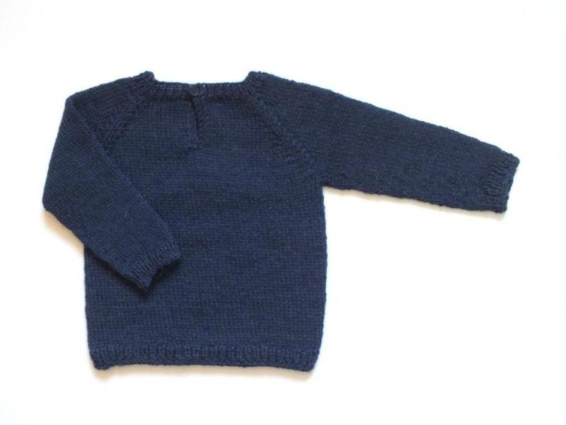 Kleinesbild - Handgestrickter Pullover in dunkelblau aus weicher Wolle (Alpaca) mit Automotiv - genial für Jungen - Größe 62 - 68 (3 - 6 Monate)