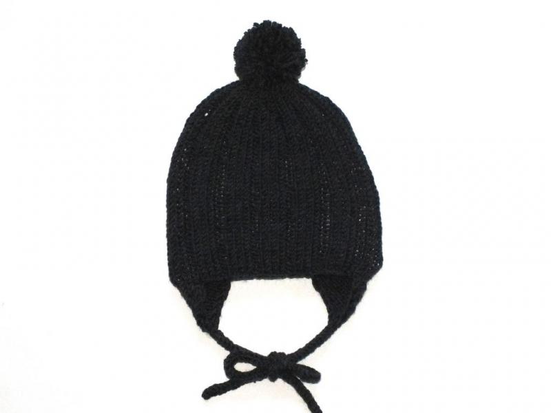 - Dunkelgraue Bommelmütze mit Ohrenklappen aus weicher Wolle (Merino) - wunderbar für kühle Tage  - KU 40-43 cm - Dunkelgraue Bommelmütze mit Ohrenklappen aus weicher Wolle (Merino) - wunderbar für kühle Tage  - KU 40-43 cm