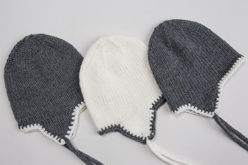 Kleinesbild - Handgestrickte Mütze mit Ohrenklappen aus weicher Wolle (Merino) - wunderbar für windige Tage - KU 38-40 cm