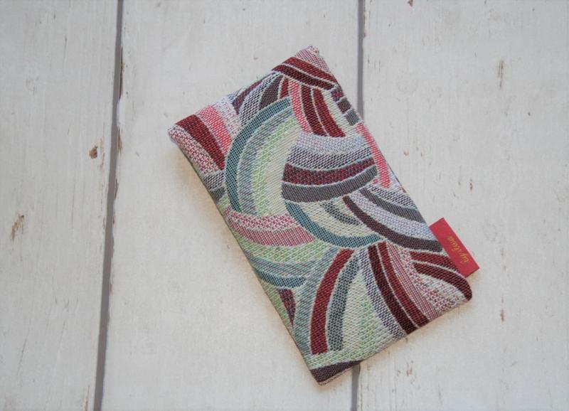 Kleinesbild - Handytasche Knoten ecru/ rot mit Klettverschluss Gr.M