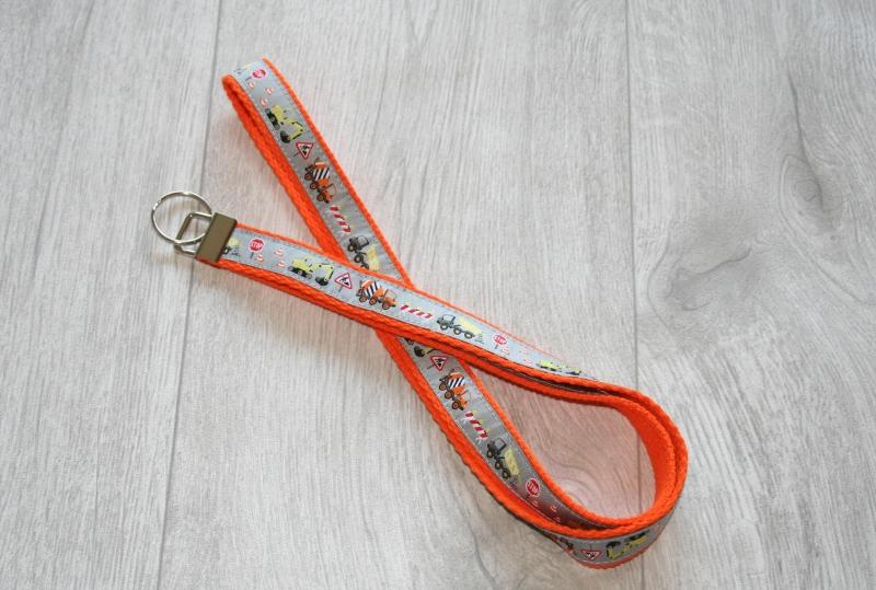 - Schlüsselband Baustelle mit Gurtband aus Baumwolle in Orange, Länge 52 cm - Schlüsselband Baustelle mit Gurtband aus Baumwolle in Orange, Länge 52 cm
