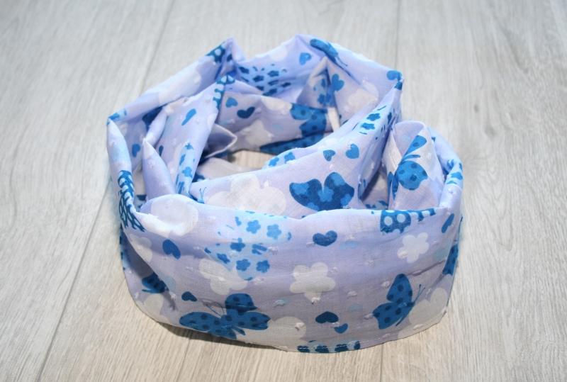 - Sommer Loopschal Hellblau mit Schmetterlingen, Baumwolle - Sommer Loopschal Hellblau mit Schmetterlingen, Baumwolle