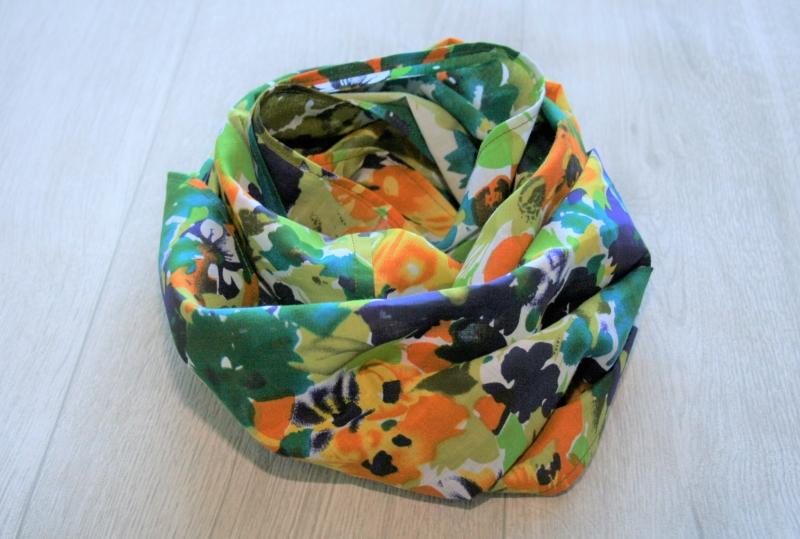 - Sommer Loopschal mit floralem Druck, Baumwolle  - Sommer Loopschal mit floralem Druck, Baumwolle
