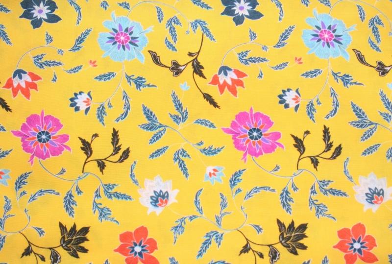 Kleinesbild - Sommer Loopschal sonnengelb mit Streublumen