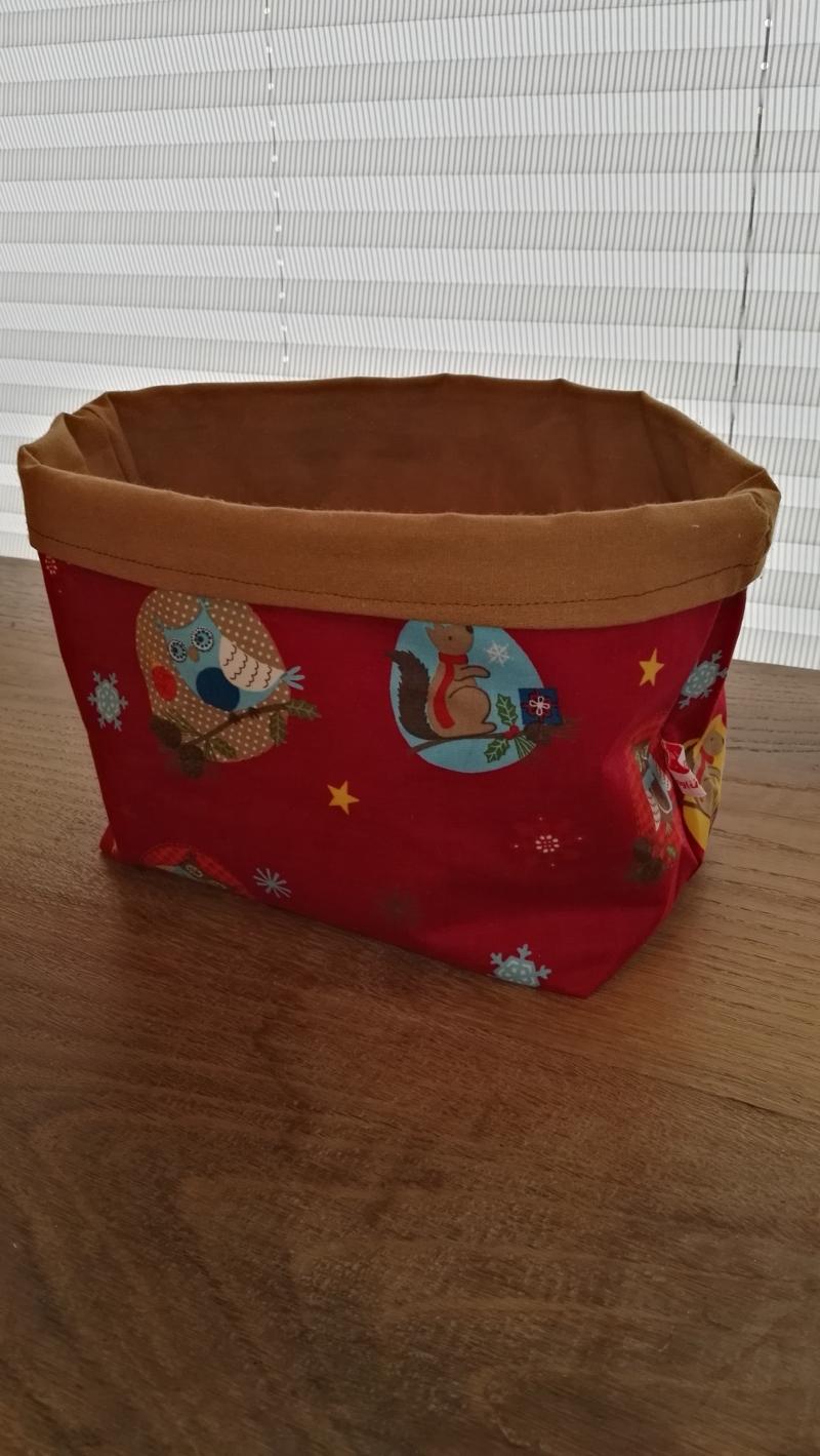 - Utensilo - Stoffkörbchen Weihnachtsmotiv rot  - Utensilo - Stoffkörbchen Weihnachtsmotiv rot