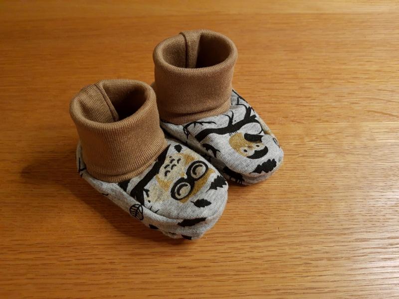 - Babyschuhe aus Jersey, weich und bequem- Eulen - Babyschuhe aus Jersey, weich und bequem- Eulen