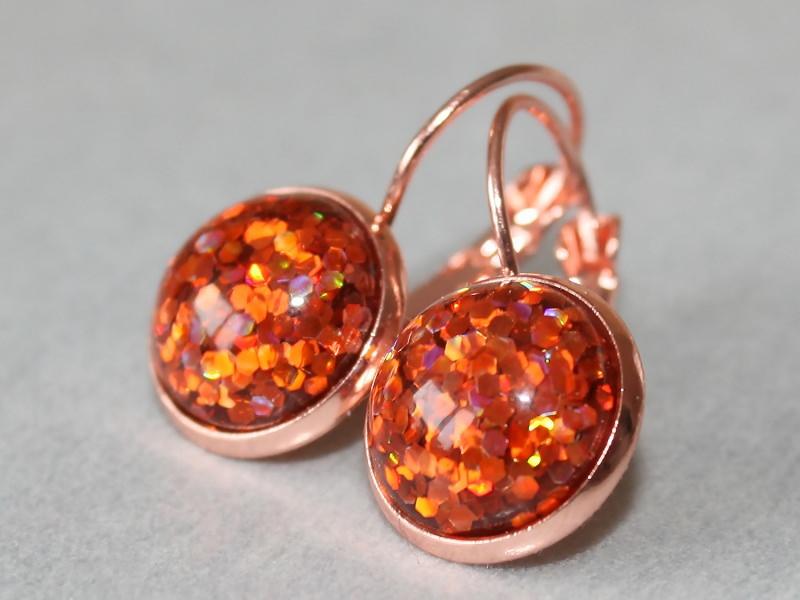 Kleinesbild - Orange Ohrringe mit Konfetti in roségold-farbener Fassung