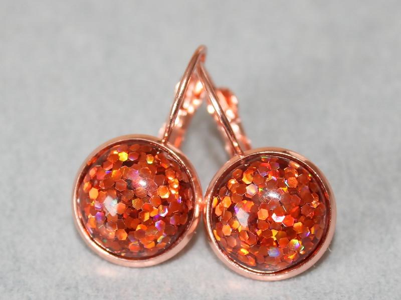 - Orange Ohrringe mit Konfetti in roségold-farbener Fassung - Orange Ohrringe mit Konfetti in roségold-farbener Fassung