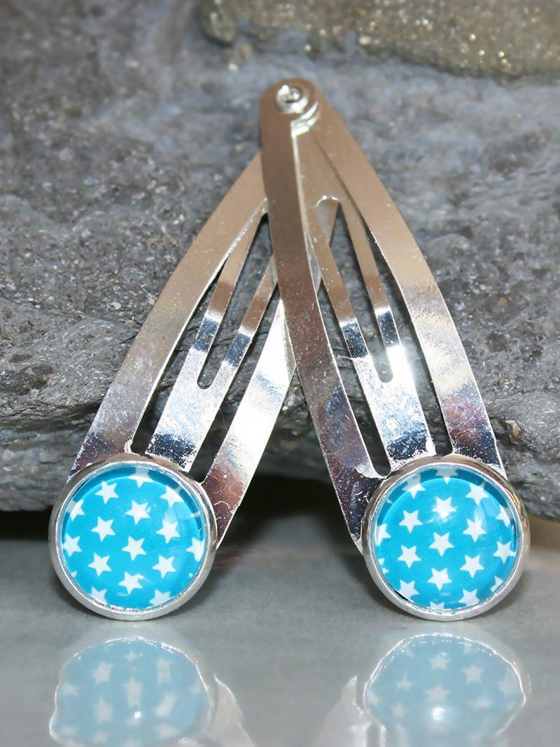 Kleinesbild - Zwei Haarspangen mit Sternen-Motiv in Weiß und Türkis