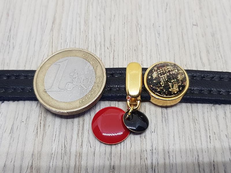 Kleinesbild - Leder Armband mit vergoldeten Schiebeperlen - Elegant und lässig