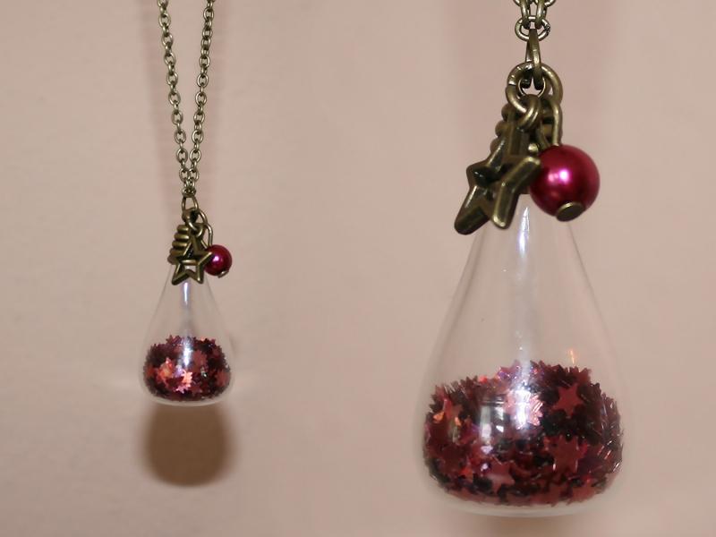 Kleinesbild - Kette Sternenglitter - Glasfläschchen mit pinkem Sternenkonfetti - romantisch verspielt