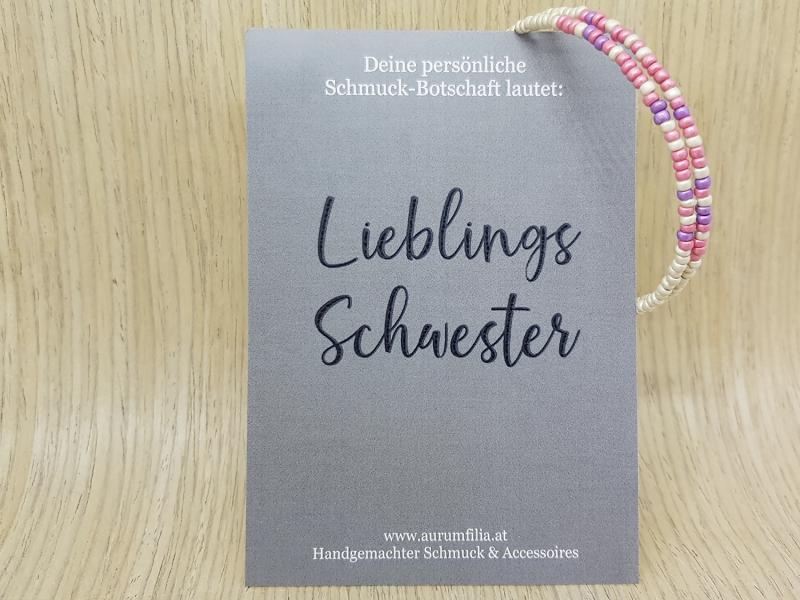 Kleinesbild - Zarter Armreif mit (geheimer) Botschaft nach individuellem Wunsch: 1-3 Wörter - Rosa, Lila & Silber