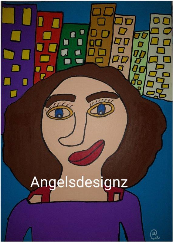 - Pop Art Acrylbild Moderne Kunst Portrait Malerei auf Leinwand Bild Handsigniert - Pop Art Acrylbild Moderne Kunst Portrait Malerei auf Leinwand Bild Handsigniert