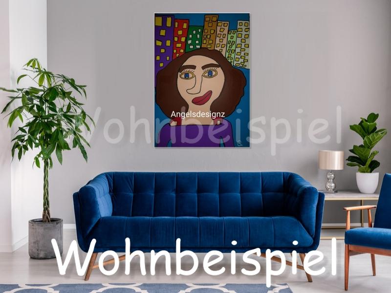 Kleinesbild - Pop Art Acrylbild Moderne Kunst Portrait Malerei auf Leinwand Bild Handsigniert
