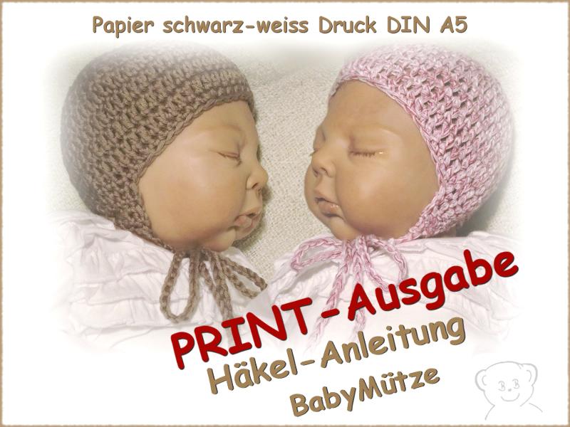 Häkelanleitungen : Häkelanleitung Baby Mütze, gedruckt schwarz-weiß ...