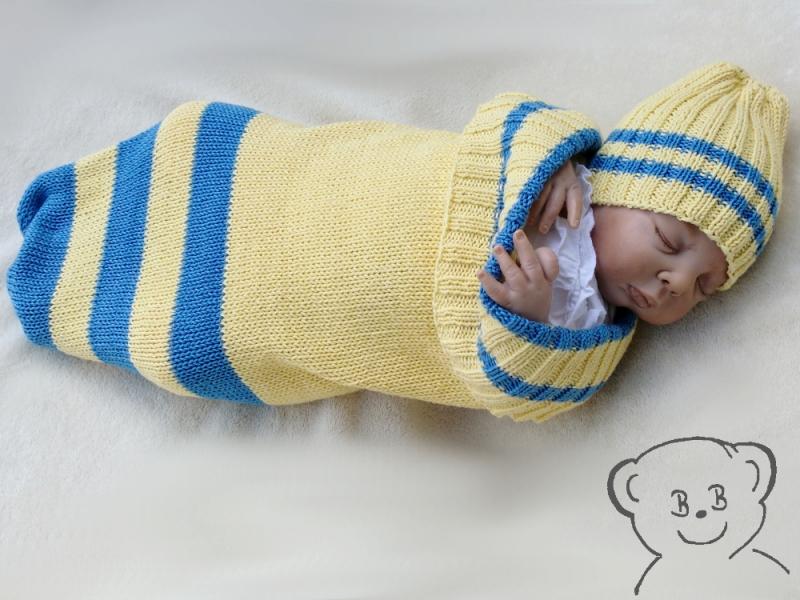 Kleinesbild - Baby Kuschelsack und Mütze [Farbe GELB-BLAU] gestreift, gestrickt