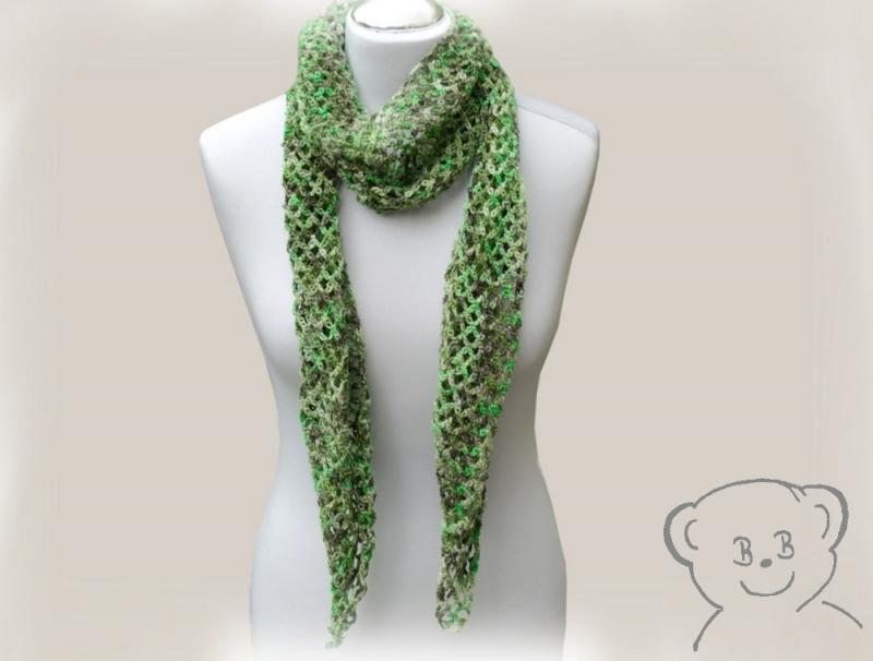- Schal Netzoptik gehäkelt [Farbe GRÜN] grün-braun, hoher Wollanteil - Schal Netzoptik gehäkelt [Farbe GRÜN] grün-braun, hoher Wollanteil