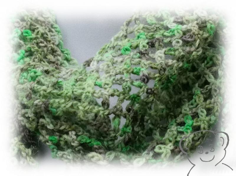 Kleinesbild - Schal Netzoptik gehäkelt [Farbe GRÜN] grün-braun, hoher Wollanteil