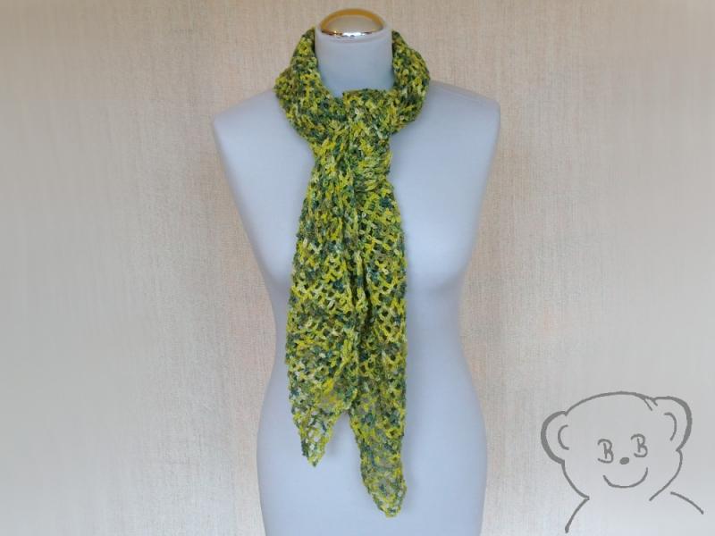 - Schal Netzoptik gehäkelt [Farbe GRÜN-GELB] grün-gelb-natur, hoher Wollanteil - Schal Netzoptik gehäkelt [Farbe GRÜN-GELB] grün-gelb-natur, hoher Wollanteil