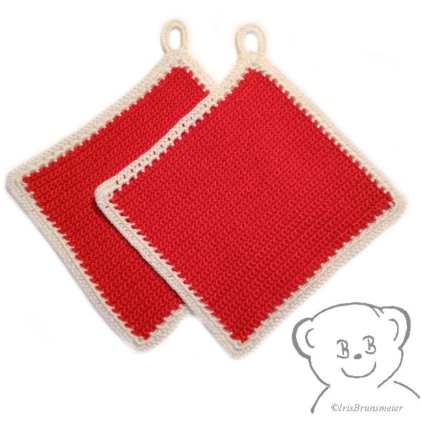 Kleinesbild - Topflappen [Farbe ROT-WEISS] gehäkelt, 100% Baumwolle