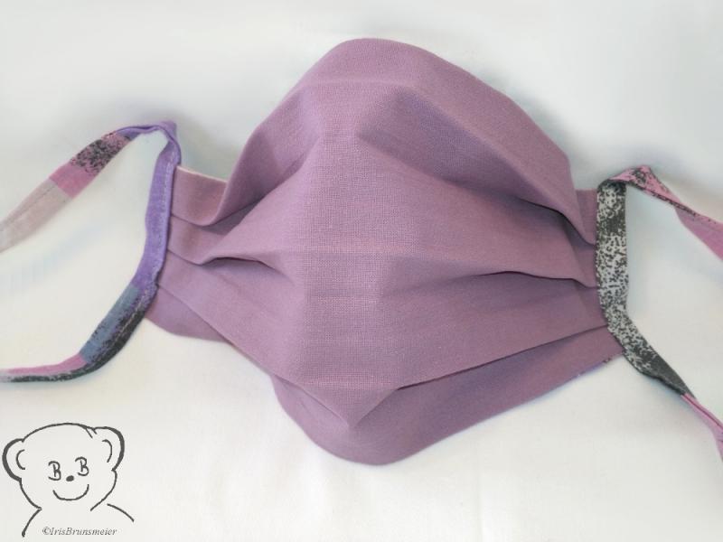 Kleinesbild - Mund-Nasen-Bedeckung, Behelfsmaske, Farbe [bunt-flieder], waschbar, 100% Baumwolle