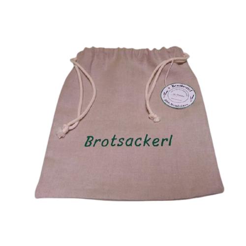 Kleinesbild - Brotsackerl mit grüner Schrift, Brotbeutel aus Bioleinen, Größe S