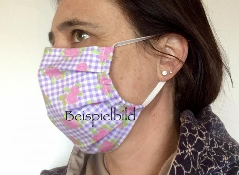 Kleinesbild - Mund - und Nasenmaske Bayern, mit Nasenbügel, Rautenmuster Bayerisch, Bayerische Maske